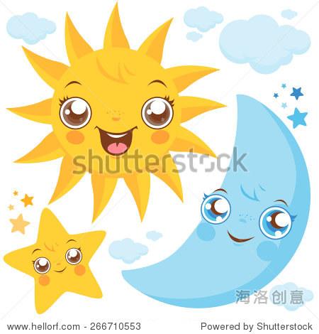 矢量插图的可爱的微笑的卡通太阳