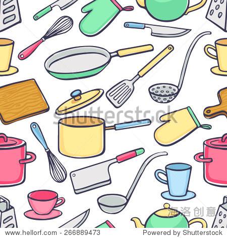 锅,刀子,勺子.手绘插图