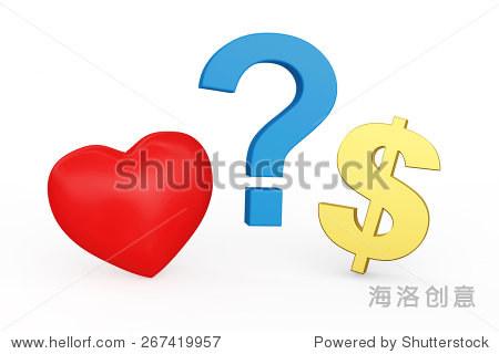 红色的心,美元符号和问号孤立在白色背景 商业 金融,符号 标志 海图片