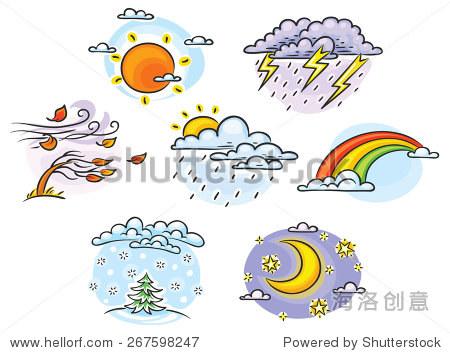 天气的卡通插图,手绘,五彩缤纷,没有渐变