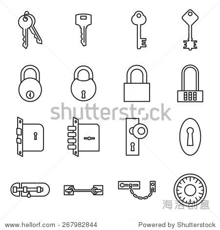 钥匙和锁的图标.矢量图