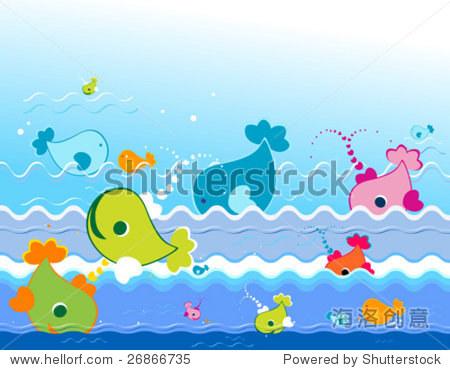 海洋可爱的动物-背景/素材