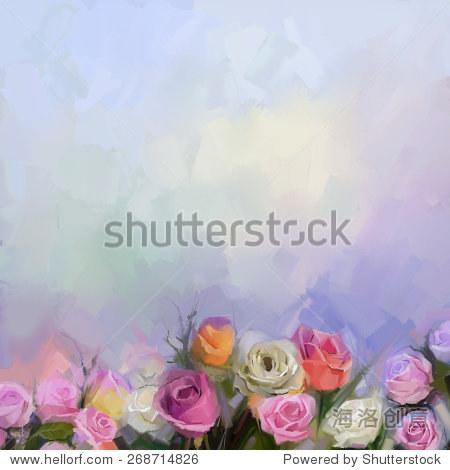 静物画一束鲜花.油画白色,红色和黄色的玫瑰花朵.手绘