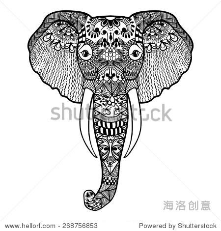 zentangle程式化的大象.手绘花边插图孤立在白色背景.
