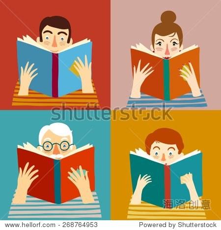 套漫画不同年龄人们阅读书籍.矢量插图.