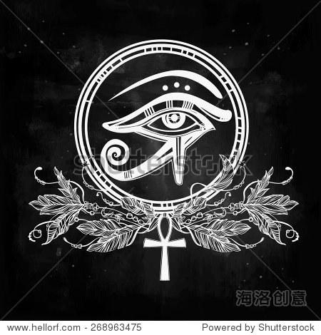 手绘的纹身艺术 矢量插图,古埃及的法老的部落的象征,元素设计在线图片