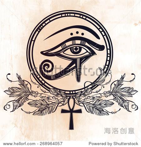 手绘的纹身艺术 矢量插图,古埃及的法老的象征,元素设计在线性风格图片