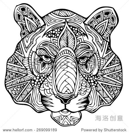 zentangle老虎矢量图
