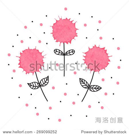 可爱的手绘插图三花与水彩元素