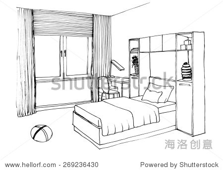 儿童,孩子房间内部的图形示意图,班轮