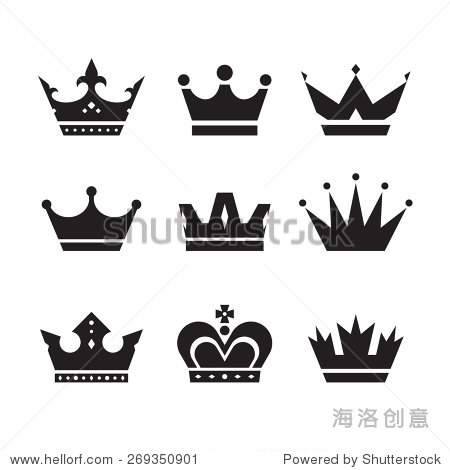 皇冠矢量图标集 克朗收集迹象 冠黑色剪影 设计元素 符号 标志,复古风高清图片