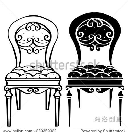 手绘家具,古董椅子,扶手椅前视图特写,艺术线条,黑色剪影孤立在白色