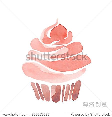 水彩蛋糕手绘插图.-食品及饮料,艺术-海洛创意正版