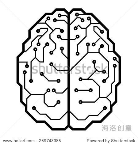 电路板的大脑形状.cmyk.组织层.全球的颜色.梯度是免费的.