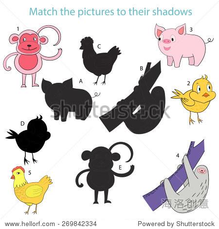 匹配图片阴影孩子游戏矢量插图 - 动物/野生生物,教育