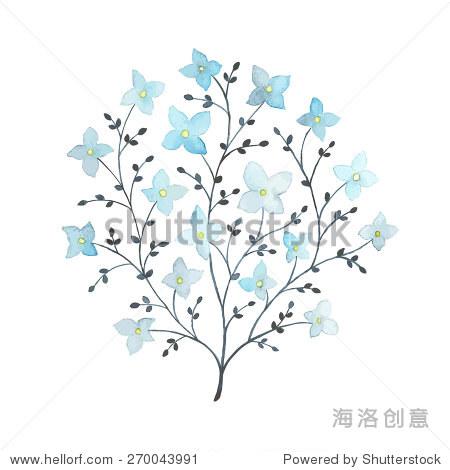 开花的树水彩的复古风格.