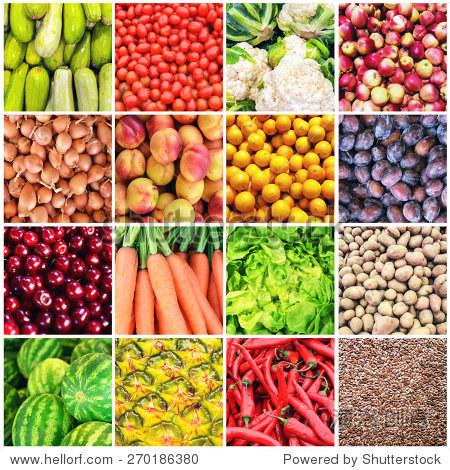 巨大的拼贴画各种健康的水果和蔬菜