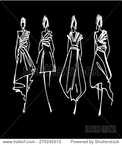 时装模特轮廓手绘,矢量插图