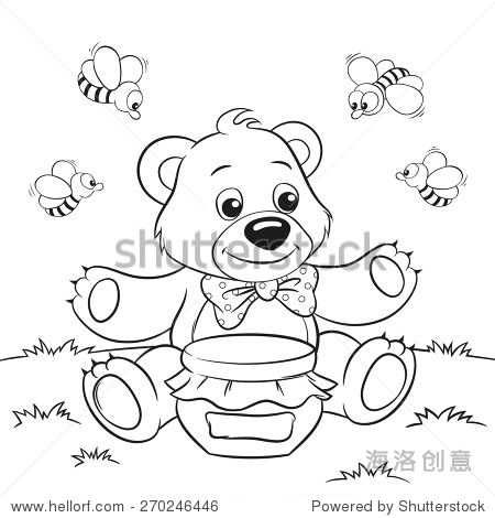 矢量插图可爱的卡通熊的蜂蜜和蜜蜂着色书