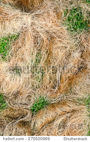 a pile of processed copra fibre waiting to be bailed at a