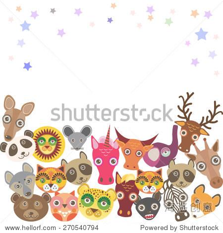 一系列有趣的动物.你的设计的模板.向量