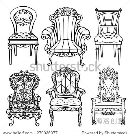 手绘家具,古董椅子,扶手椅,宝座前视图特写,黑色线条孤立在白色背景