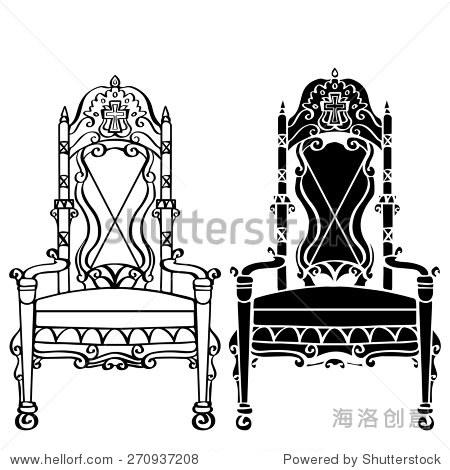手绘家具,古董哥特式椅,扶手椅,宝座前视图特写,艺术线条,黑色剪影