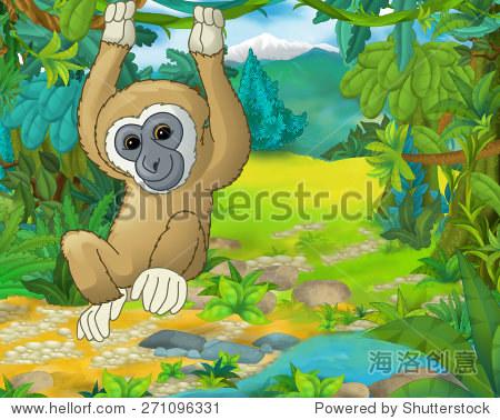 卡通动物的场景——漫画——吉本插图的儿童图片