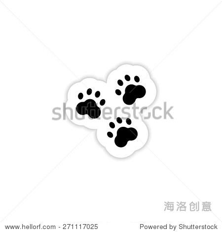 动物的足迹在白色背景的影子