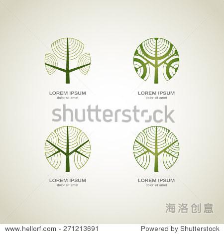 green circle tree vector logo design. creative concept.图片