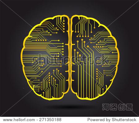 黄色的电路板的大脑.抽象的技术背景为计算机图形网站