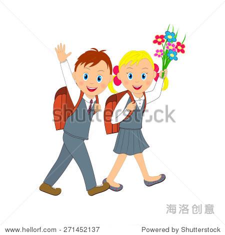 男孩和女孩去上学.女孩用鲜花,男孩挥手,插图,向量