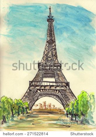 巴黎埃菲尔铁塔在纸上手绘草图图片