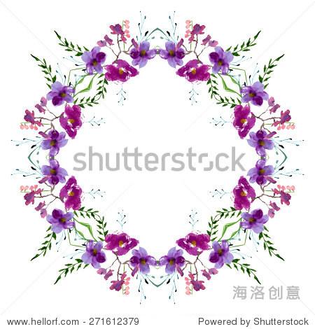 水彩插画的白玉兰花装饰树叶和树枝