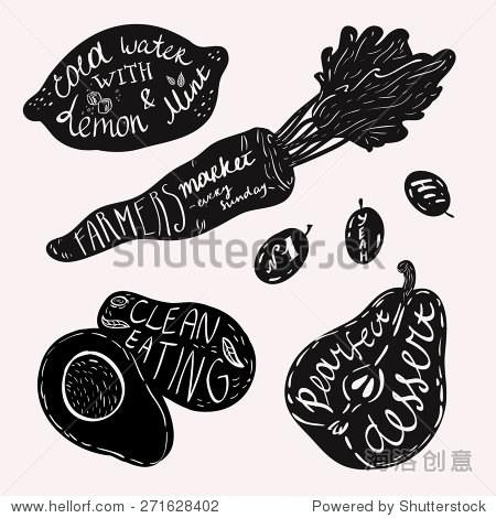 上水果和蔬菜.黑白插图.