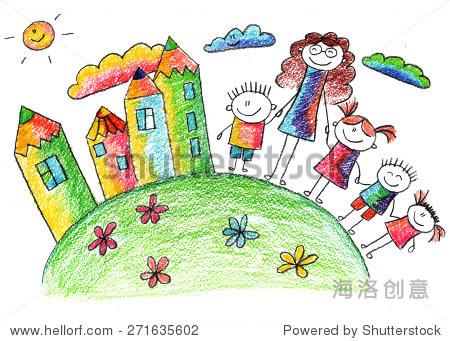 五彩缤纷的夏天的照片.孩子们画画