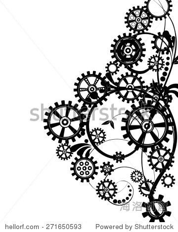抽象的机械背景与花卉元素,矢量图.蒸汽朋克齿轮.