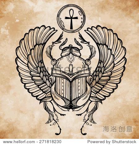 手绘的纹身艺术 矢量插图,古埃及的法老的象征,复活元素在线性风格图片