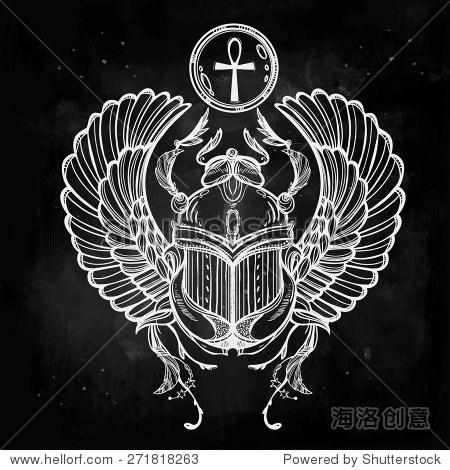 手绘的纹身艺术 矢量插图,法老的象征,复活的古埃及,线性风格 神图片