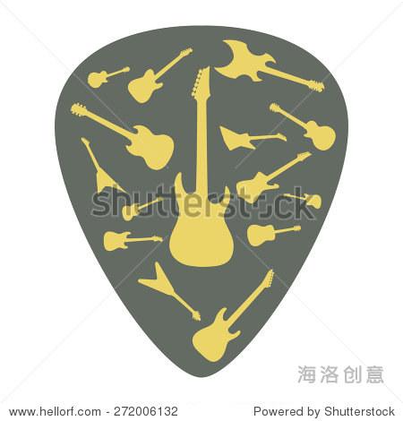 中介与不同的吉他图标,矢量插图