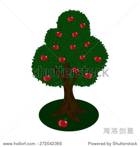 卡通苹果树孤立在白色背景.