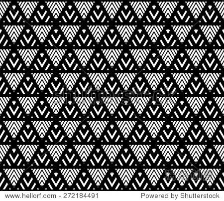 黑色节奏格子和条纹背景矢量三角形无缝模式