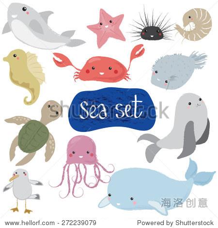 矢量插图的海洋动物和物体的孩子,孤立在白色的,手绘