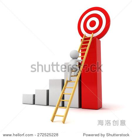 3 d人爬梯子上面的红色目标目标成功的图,业务目标概念孤立在白色背景