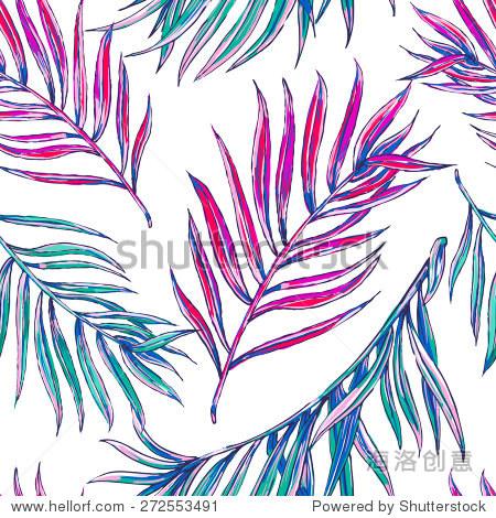 美丽的无缝向量时尚热带丛林花卉图案背景,色彩斑斓的