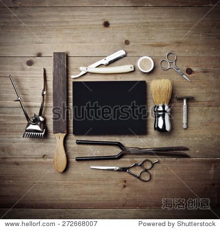 组的工具的理发店黑色的海报 - 物体,复古风格 - 站酷