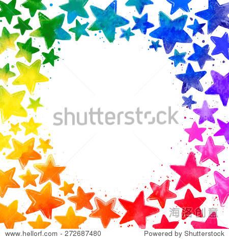 帧手绘水彩五颜六色的星星和地方文本中间的白色背景