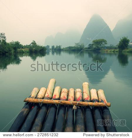 """China Guilin Yangshuo bamboo rafting in the beautiful """"Yulong River"""""""