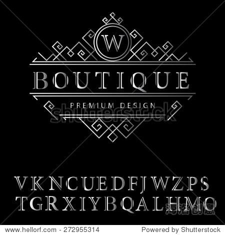 字母组合的设计元素,英文字母.优雅的线条艺术标志设计.