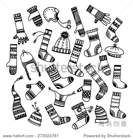 设置不同的手绘帽子,袜子和手套.秋天,冬天,春天穿.矢量插图.